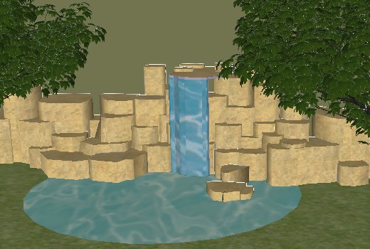3D waterfall concept pond design Hampshire