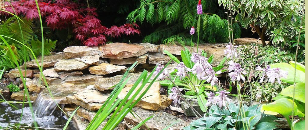 Natural stone garden waterfall Hampshire