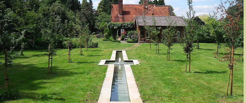 Rill water garden with fountain Surrey